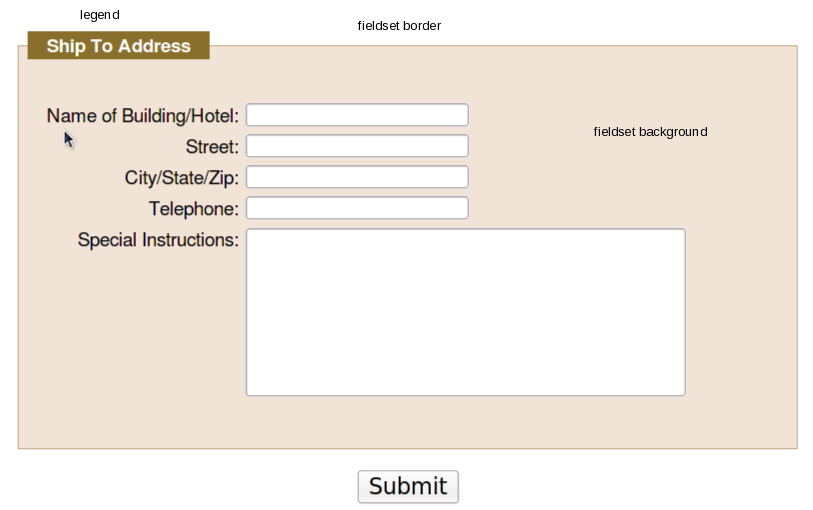 HTML form layout with fieldset and legend tags