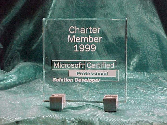 Charter Member, Micrososft Certified Solution Developer Award