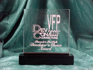 The Hacker's Guide to Visual FoxPro selected as the winner of the VFP DevCon 2000 Developer's Choice award.